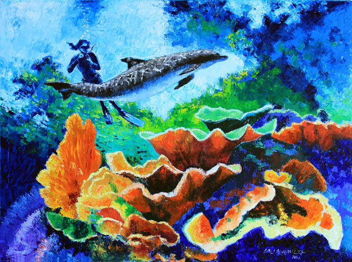 Swimming with the Dolphins - Paintings by John Lautermilch