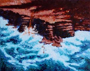Angry Ocean and Land - Paintings by John Lautermilch