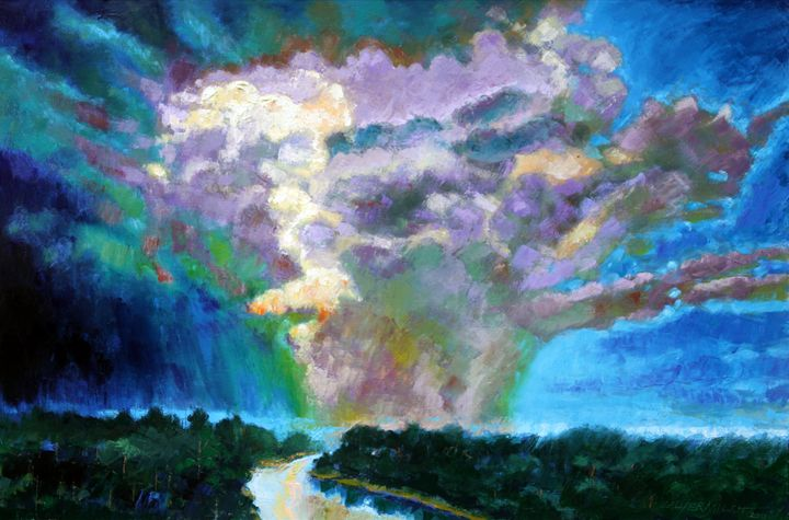 Storm Clouds over Missouri River - Paintings by John Lautermilch
