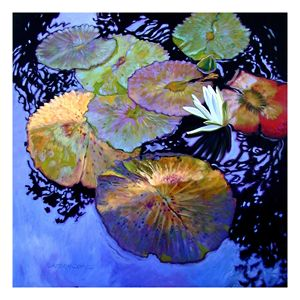 Water Lily Palettes - Paintings by John Lautermilch