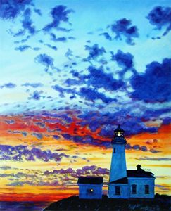 Sunset at the Lighthouse - Paintings by John Lautermilch