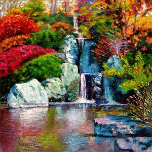 Japanese Water Fall - Paintings by John Lautermilch