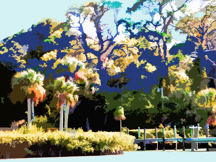 Boat Dock in Florida - Paintings by John Lautermilch