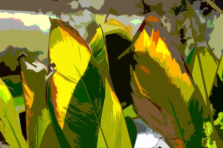 Leaf Abstraction 12 - Paintings by John Lautermilch