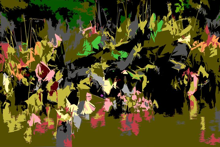 Leaf Abstraction 19 - Paintings by John Lautermilch