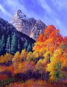 Aspens in Sunlight - Paintings by John Lautermilch