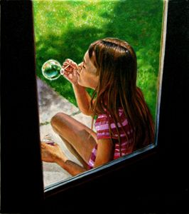 Sierra Blowing Bubbles - Paintings by John Lautermilch