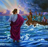 Jesus Walking on the Sea - Paintings by John Lautermilch