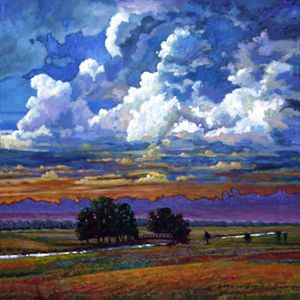 Evening Clouds Over the Prairie - Paintings by John Lautermilch