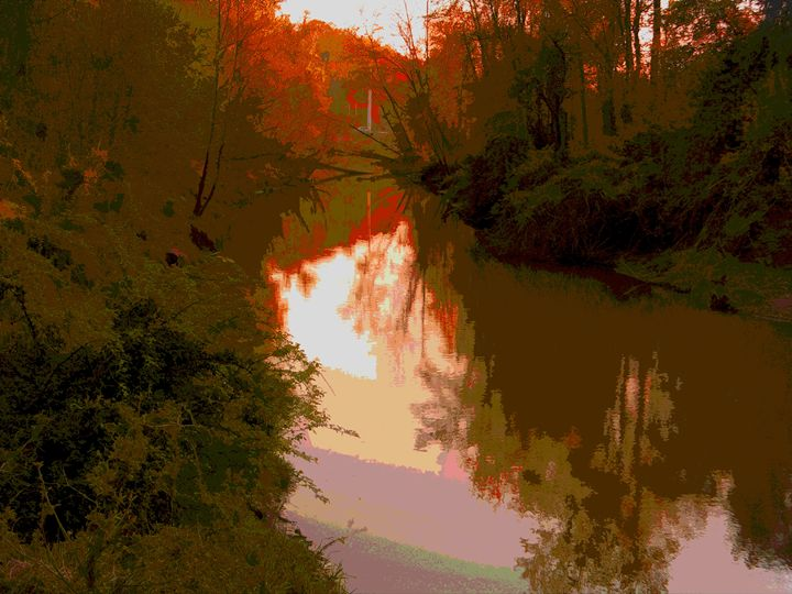 Fall Along the River - Paintings by John Lautermilch