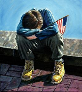 Boy With Flag - Paintings by John Lautermilch