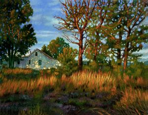 Sunset on Country Home - Paintings by John Lautermilch
