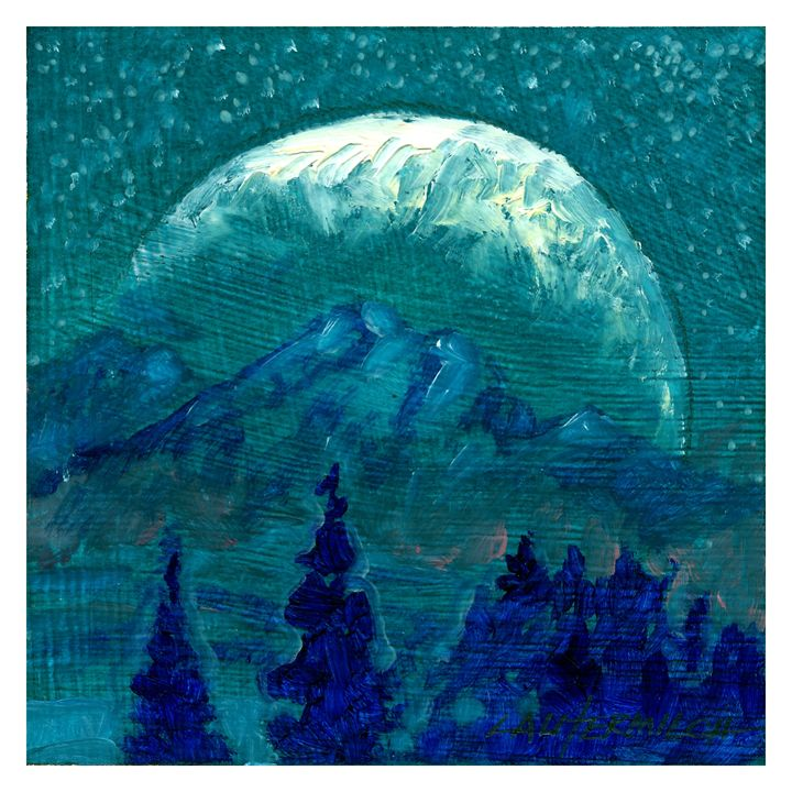 Rocky Mountain Moon - Paintings by John Lautermilch