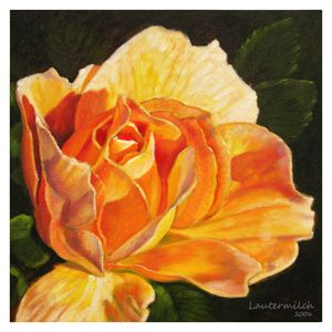 Golden Rose Blossom - Paintings by John Lautermilch