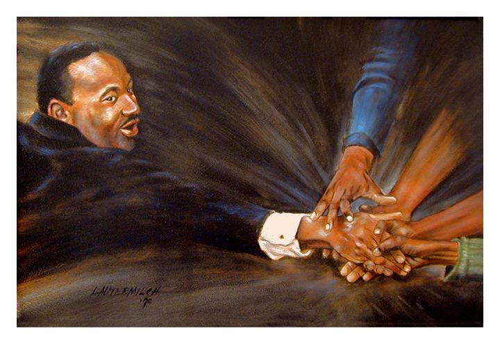 Martin Luther King Reaching Out - Paintings by John Lautermilch