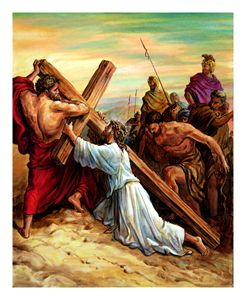 Simon Helping Jesus - Paintings by John Lautermilch