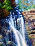 Sunspots on Georgia Waterfall - Paintings by John Lautermilch