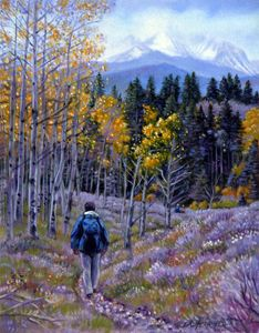 Fall Trail in the Rockies - Paintings by John Lautermilch