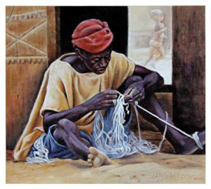 Man Untangling String - Paintings by John Lautermilch