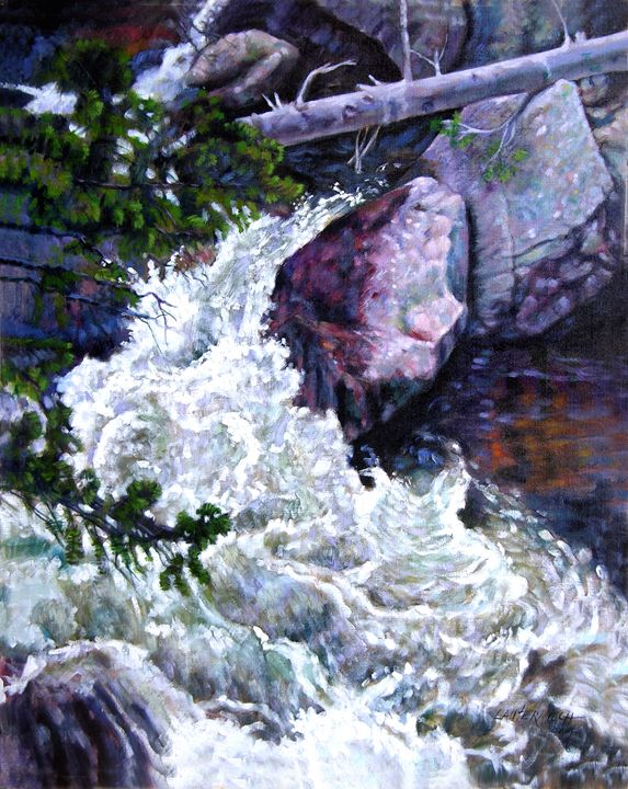Rushing Stream Colorado 35-2004 - Paintings by John Lautermilch