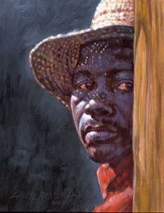 Man in Straw Hat 78-2004 - Paintings by John Lautermilch