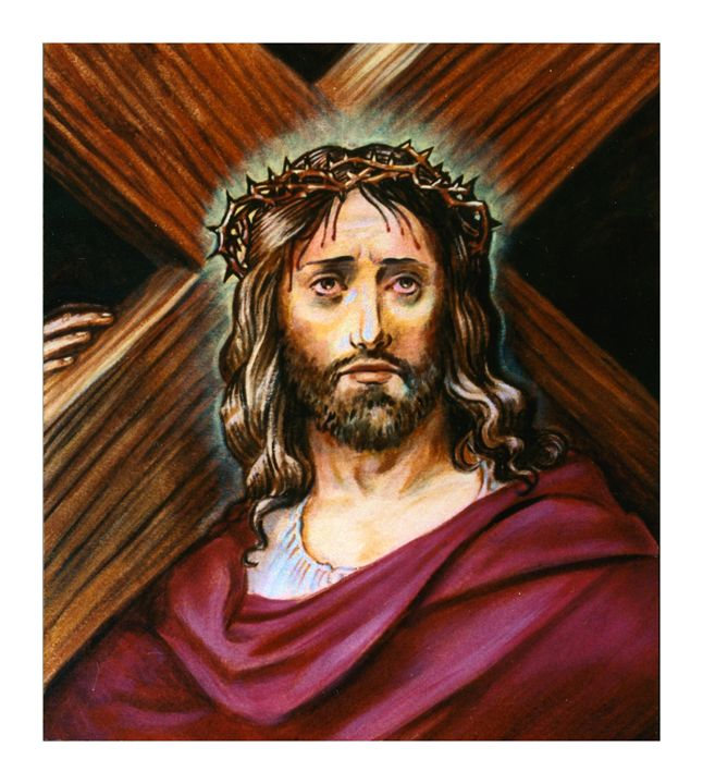 Christ with Cross - Paintings by John Lautermilch