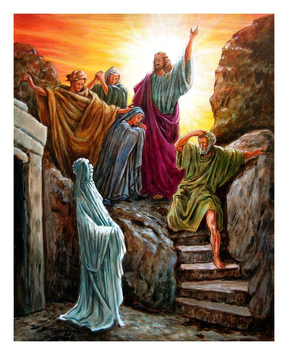Jesus Raises Lazarus - Paintings by John Lautermilch