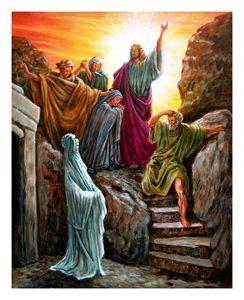 Jesus Raises Lazarus - Paintings by John Lautermilch