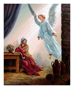 Mary and Angel - Paintings by John Lautermilch