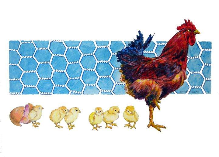 Rooster and Chicks - Paintings by John Lautermilch