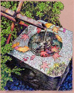 Fall Leaves in Fountain - Paintings by John Lautermilch