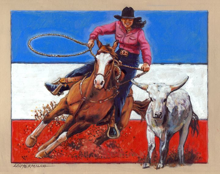 American Cowgirl - Paintings by John Lautermilch
