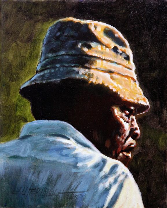 Man with a Brown Hat - Paintings by John Lautermilch