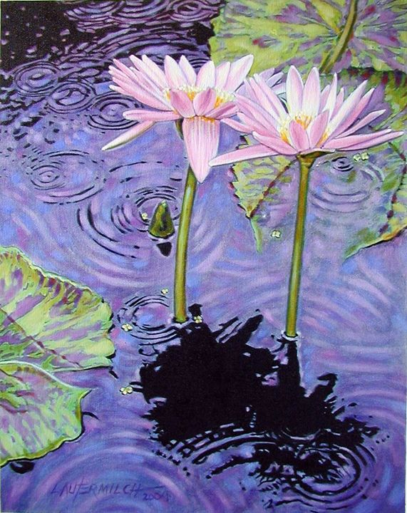 Two Pink Lilies in the Rain - Paintings by John Lautermilch