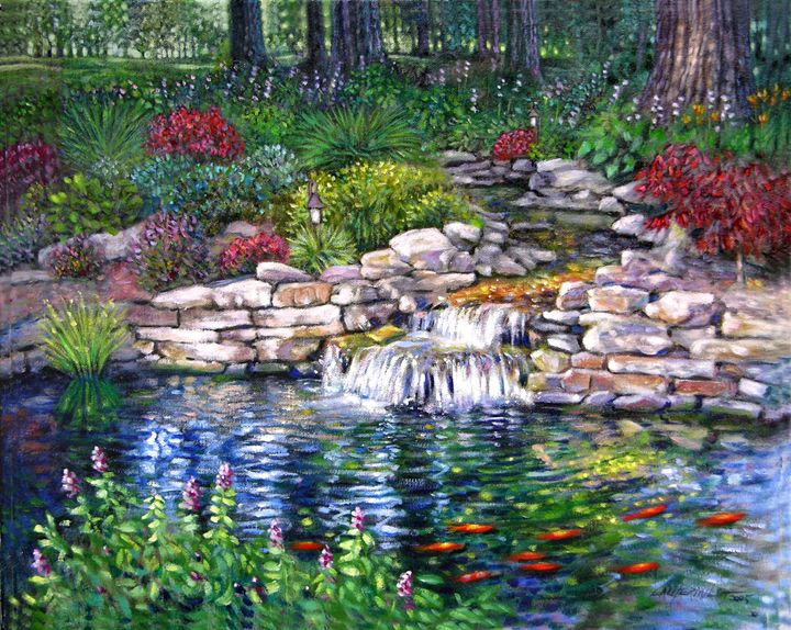 Garden Pond - Paintings by John Lautermilch