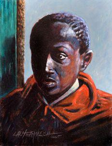 Boy in Doorway - Paintings by John Lautermilch