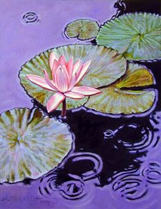 Pink Lily in the Rain - Paintings by John Lautermilch