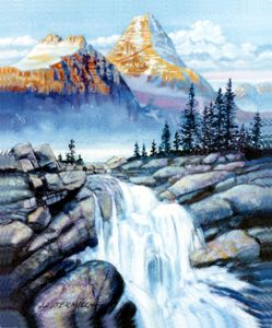 Mountain Waterfall 124-2005 - Paintings by John Lautermilch