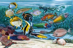 Ocean Fish 130-2005 - Paintings by John Lautermilch