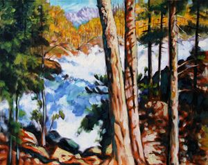 Flooded Stream in Colorado - Paintings by John Lautermilch