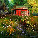 Little Red Flower Shed - Paintings by John Lautermilch