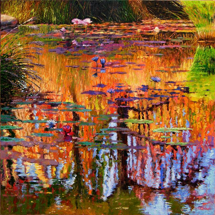 Ripples on Fall Pond - Paintings by John Lautermilch