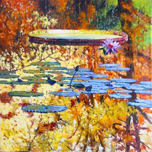 Fall Colors on the Lily Pond - Paintings by John Lautermilch