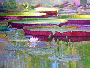 Sunlight on Lily Pads - Paintings by John Lautermilch