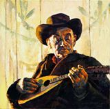 Cowboy with Mandolin - Paintings by John Lautermilch