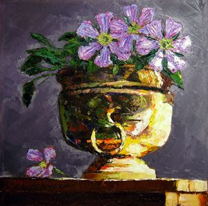 Golden Flower Pot 19-2008 - Paintings by John Lautermilch