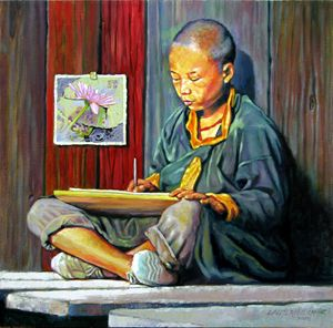 Boy Painting Lilies 24-2008 - Paintings by John Lautermilch