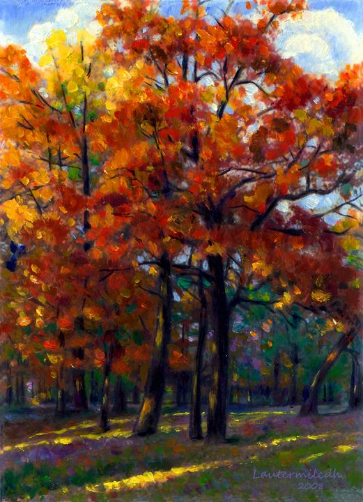 Sunlight Through Oaks - Paintings by John Lautermilch