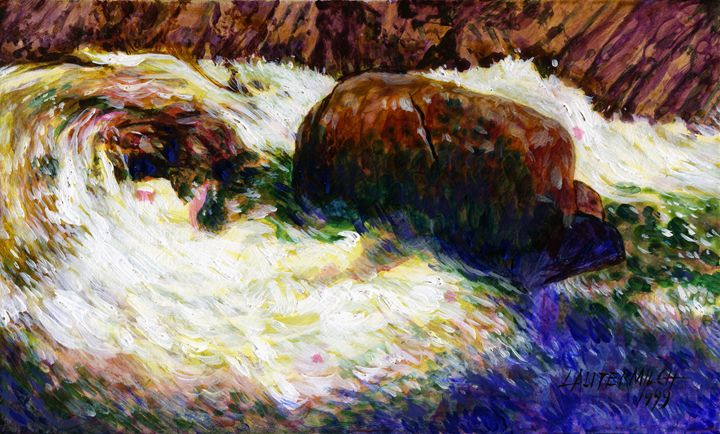 Stream Somewhere in the Rockies - Paintings by John Lautermilch