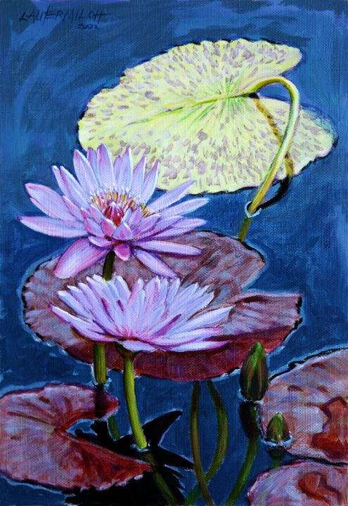 Two Purple Lilies 12-2002 - Paintings by John Lautermilch